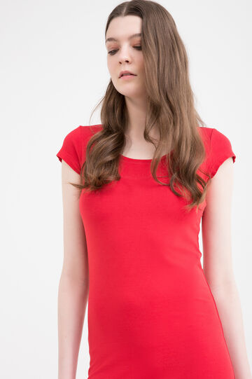 Solid colour stretch pencil dress, Red, hi-res