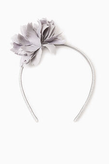Hairband with flower, Grey, hi-res