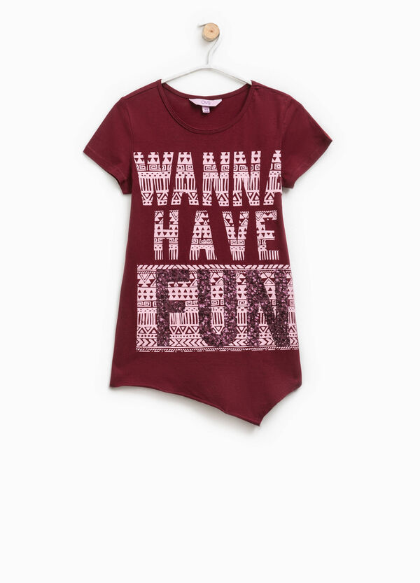 T-shirt with printed lettering and sequins | OVS