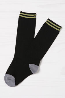 Two-pack stretch patterned socks, Black, hi-res