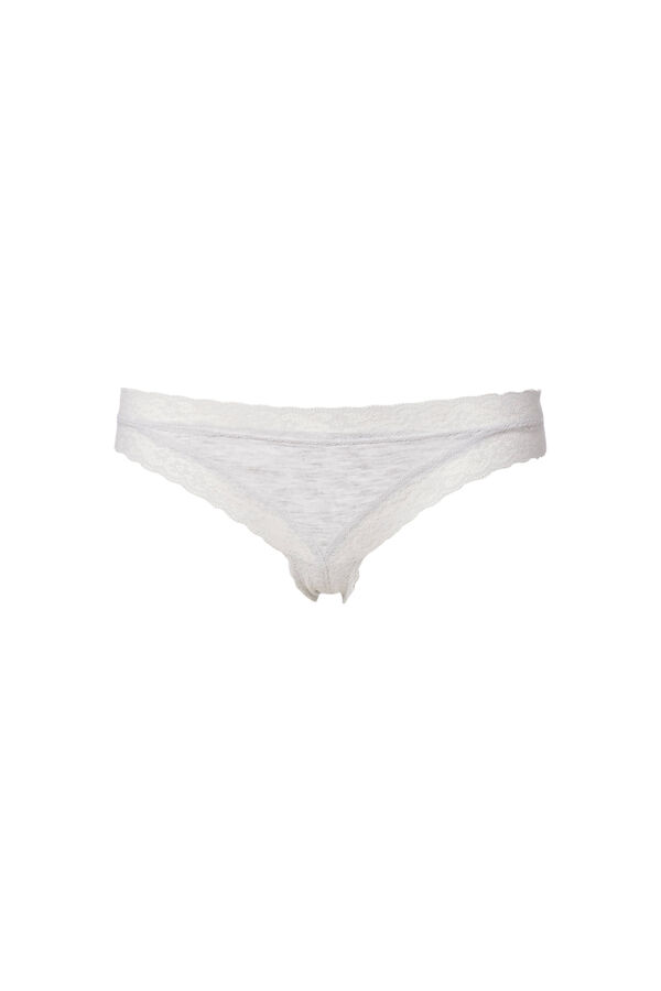 Stretch cotton tanga briefs with lace inserts. | OVS