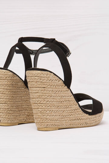 Sandals with wedge and cord trim, Black, hi-res