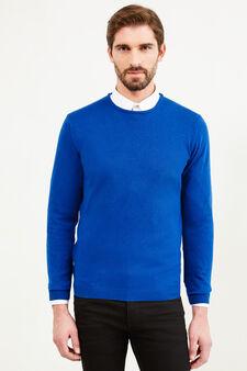 Crew neck pullover in silk and cashmere., Lavender, hi-res