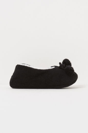 Fur slippers with pompoms, Black, hi-res