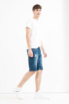 Worn-effect denim Bermuda shorts, Medium Wash, hi-res