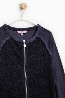 100% cotton sweatshirt with lace, Dark Blue, hi-res