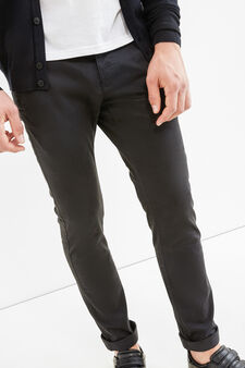 Solid colour slim-fit chino trousers, Black, hi-res