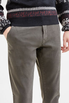Slim fit, stretch cotton chino trousers, Slate Grey, hi-res