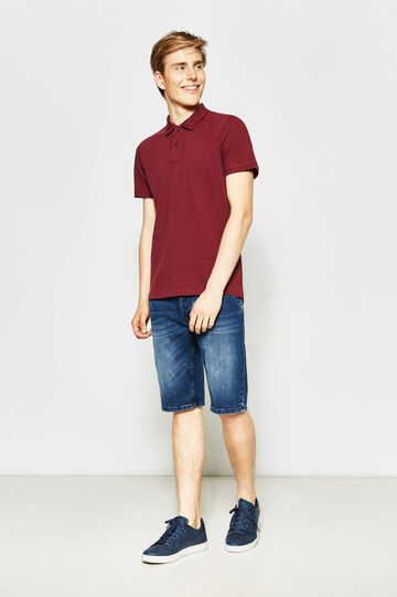 Slim-fit stretch denim Bermuda shorts