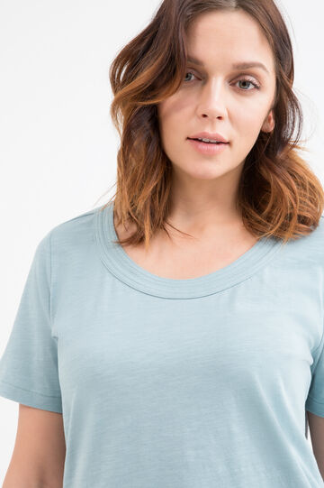 Curvy 100% cotton T-shirt, Aqua Blue, hi-res