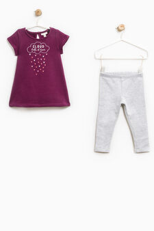 Printed stretch cotton outfit, Royal Purple, hi-res