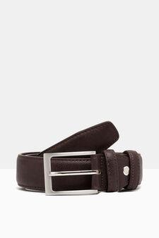 Hammered leather look belt., Dark Brown, hi-res