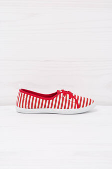 Low sneakers with striped pattern, White/Red, hi-res