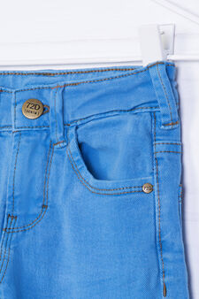 Solid colour, slim-fit stretch jeans, Deep Blue, hi-res