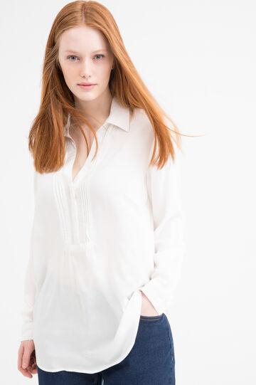 Blusa pura viscosa Curvy, Bianco panna, hi-res