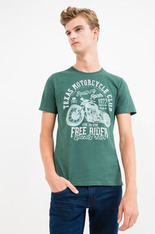 Printed round-neck 100% cotton T-shirt, Forest Green, hi-res