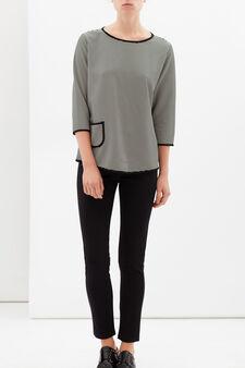 Stretch T-shirt with pocket, White/Black, hi-res