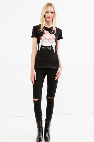 Round neck T-shirt with print, Black, hi-res