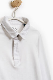 100% cotton polo shirt with long sleeves, Off-white, hi-res