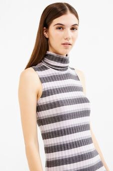 Long striped dress in stretch viscose, Grey/Pink, hi-res
