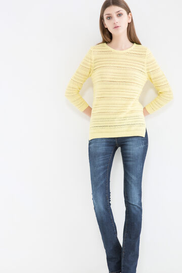 Solid colour 100% cotton pullover, Lime Green, hi-res