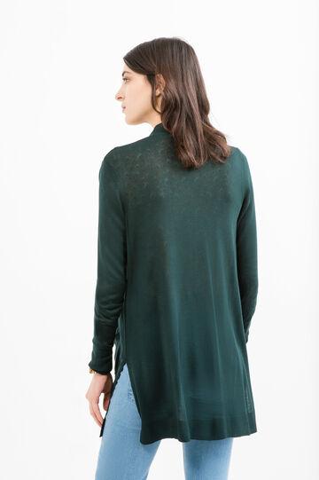 100% viscose cardigan with slits, Green, hi-res