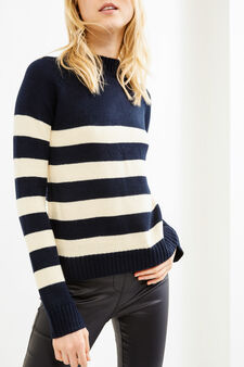Striped pullover with high neck, White/Blue, hi-res