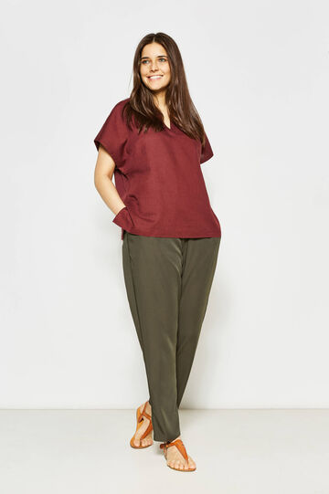 Curvy blouse in linen and cotton