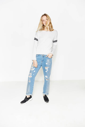 Girlfriend-fit ripped jeans, Soft Blue, hi-res
