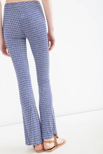 Stretch viscose bell-bottom trousers, Blue, hi-res