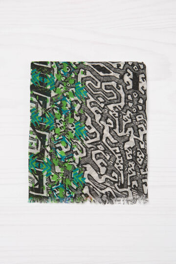 Multi-colour print scarf with insert, Multicolour, hi-res