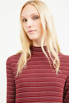 Striped T-shirt in stretch viscose with high neck, White/Red, hi-res