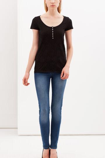 Lace T-shirt with Granddad collar, Black, hi-res