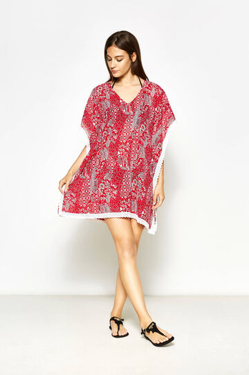 Patterned poncho with lace, White/Red, hi-res