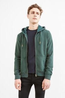 Cotton hoodie, Green, hi-res