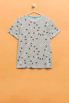 Cotton T-shirt with geometric pattern, Grey, hi-res