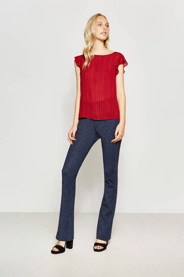 Blouse in 100% viscose with flounce