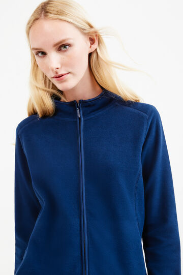 Fleece sweatshirt with twin pocket, Blue, hi-res