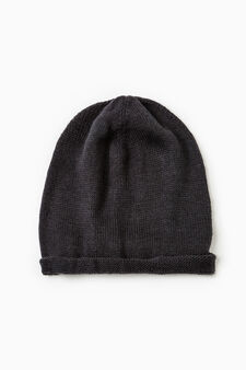 Beanie with turn-up, Navy Blue, hi-res