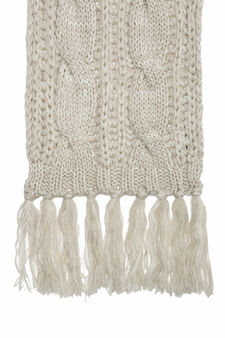 Knitted scarf with fringe, Chalk White, hi-res