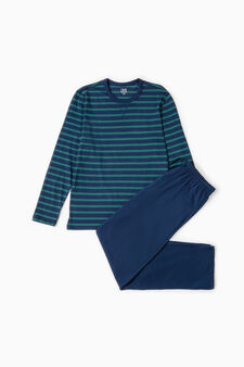 Striped pattern cotton pyjamas, Blue/Green, hi-res