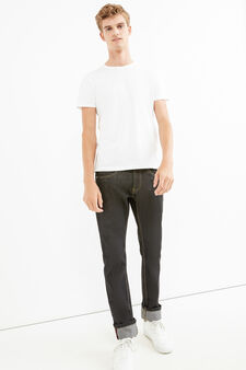 Straight-fit jeans with turn-ups, Black, hi-res