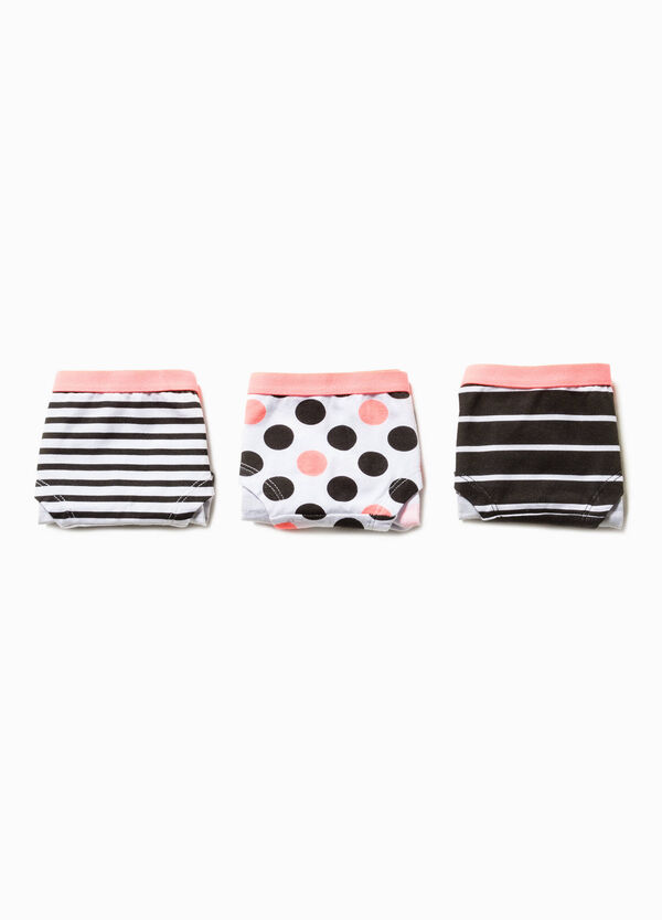 Three-pack patterned stretch cotton French knickers | OVS