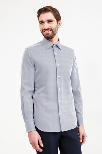 Slim-fit formal micro-striped shirt, Dark Blue, hi-res