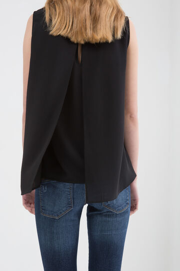 Sleeveless blouse with vent, Black, hi-res