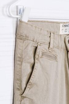 Pantaloni chino in cotone stretch, Beige, hi-res