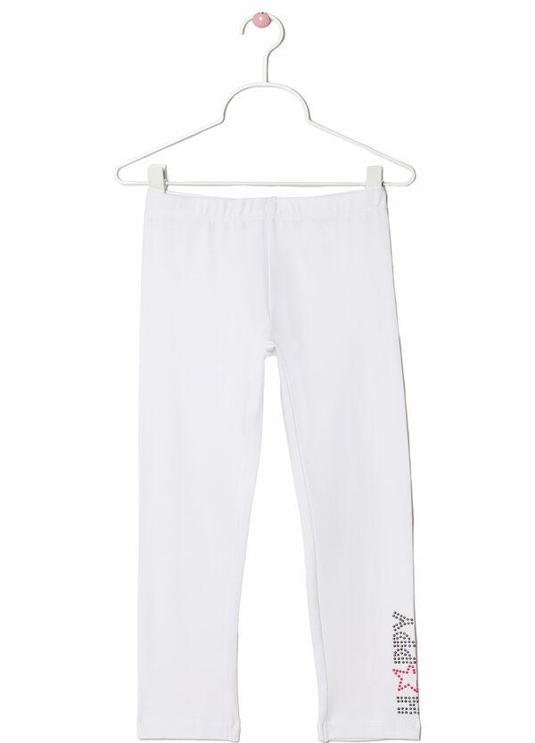 Stretch cotton leggings with rhinestone motif | OVS