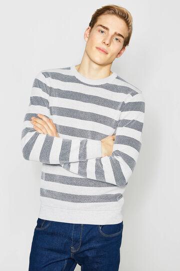 Pullover in cotone tricot a righe, Blu/Grigio, hi-res