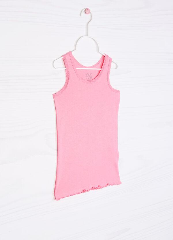 Solid colour cotton undervest with lace   OVS
