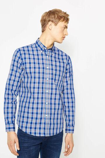 Camicia casual in misto cotone tartan, Multicolor, hi-res